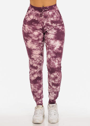 Image of Casual Tie Dye High Waisted Work Out Stretchy Jogging Plum Jogger Pants