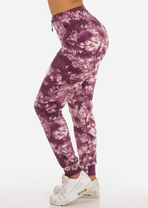 Casual Tie Dye High Waisted Work Out Stretchy Jogging Plum Jogger Pants