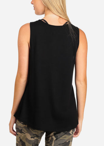 Women's Junior Casual Basic Essential Solid Color Strappy V Neckline Black Tank Top