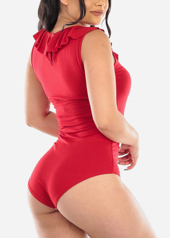 Red Sleeveless Ruffle Bodysuit