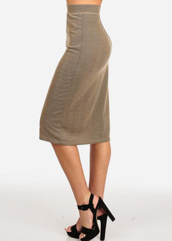 Image of Women's Junior Ladies Professional Business Office Career Wear Printed Taupe Pencil Midi Skirt