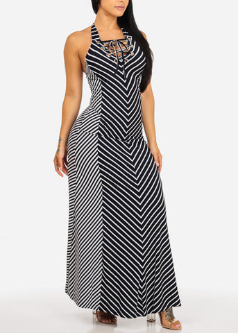Image of Navy Striped  Maxi Dress