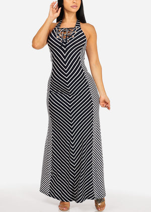 Casual Navy Striped  Maxi Dress