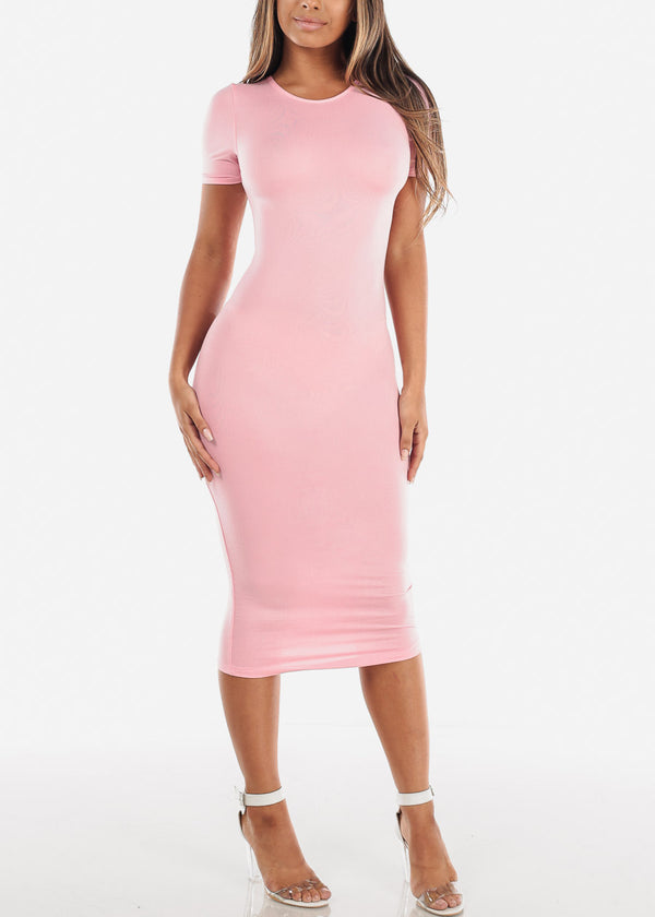 Women's Junior Ladies Cute Casual Trendy Short Sleeve Round Neckline Essential Bodycon Tight Fitted Below The Knee Light Pink Stretchy Dress