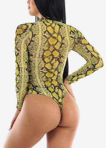 Lime Snake See Though Bodysuit