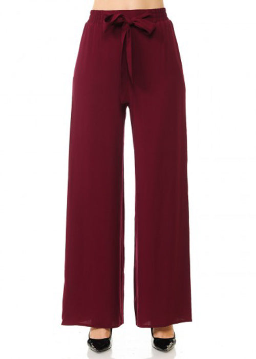 Tie Front Wide Legged Burgundy Pants