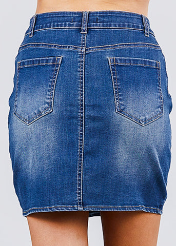 Image of Button Down Denim Mini Skirt