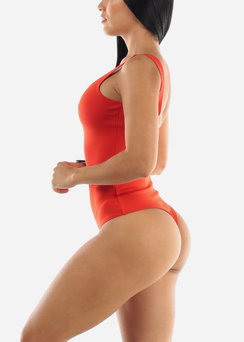 Coral Sleeveless Thong Bodysuit
