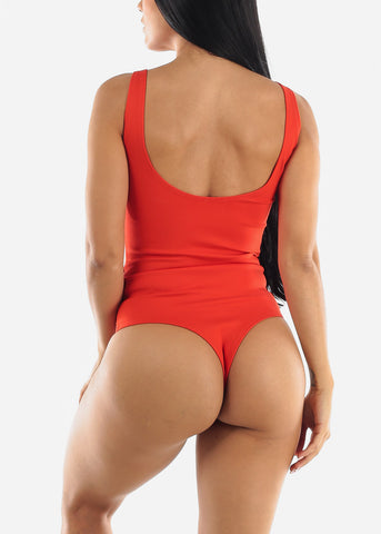 Image of Coral Sleeveless Thong Bodysuit