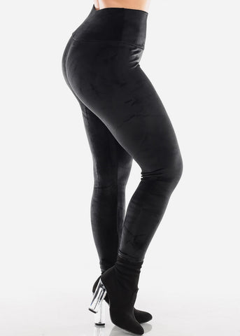 Black Suede Leggings