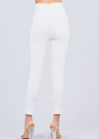 Image of High Waisted Belted White Pants