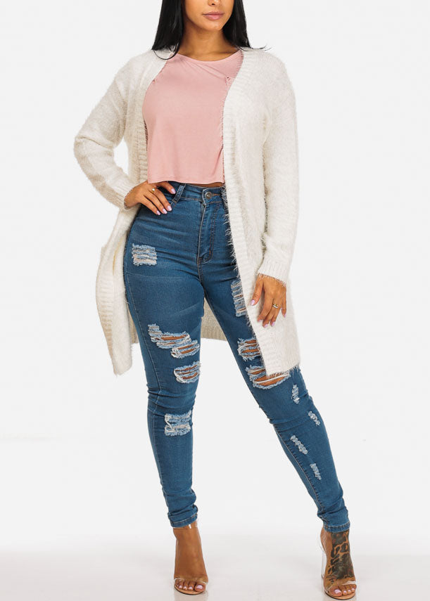 f4cef229b2 Fuzzy Open Front White Cardigan. Double tap to zoom