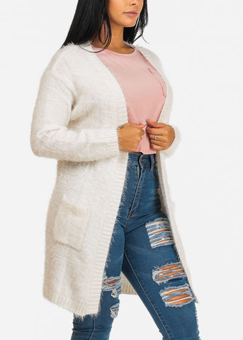 Fuzzy Open Front White Cardigan