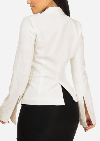 Image of Classic One Button Ivory Blazer