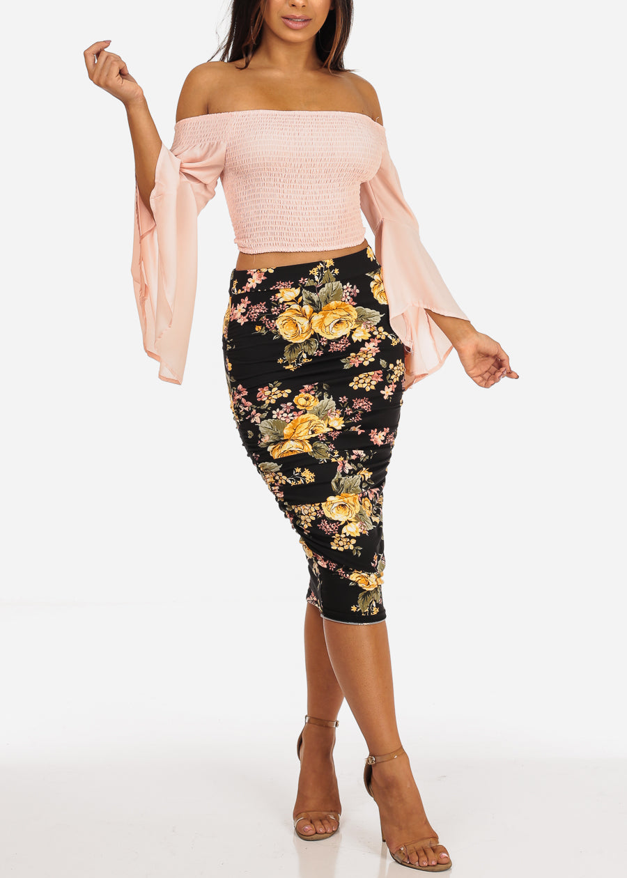 Blush Shirring Crop Top