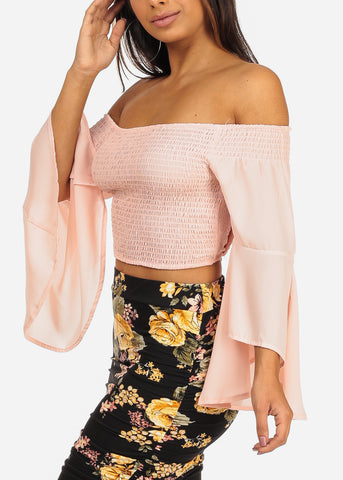 Image of Stylish Off Shoulder Angel Sleeve Shirring Blush Crop Top
