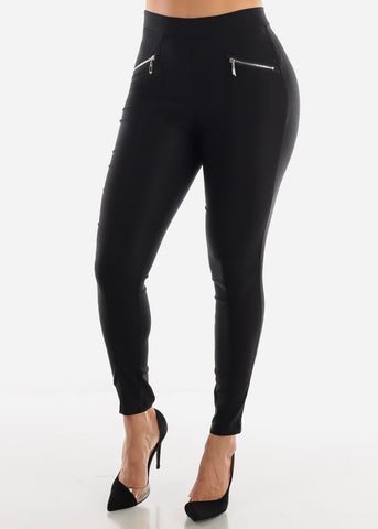 Skinny Black Zipper Pants