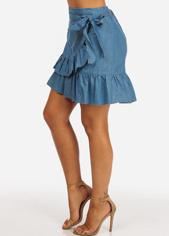 Image of Dark Wash Ruffle Detail Side Tie Light Wash Denim Skirt