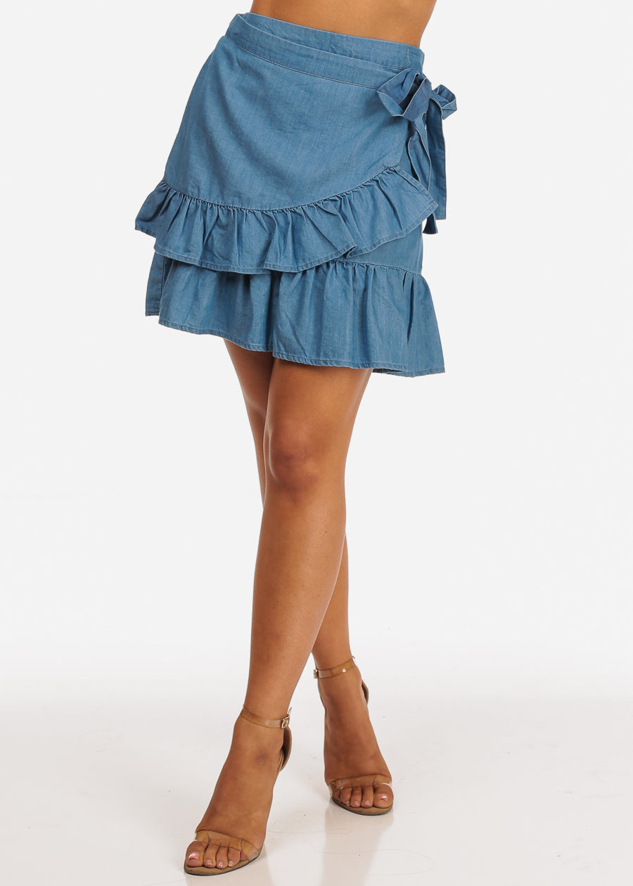 Dark Wash Ruffle Detail Side Tie Light Wash Denim Skirt