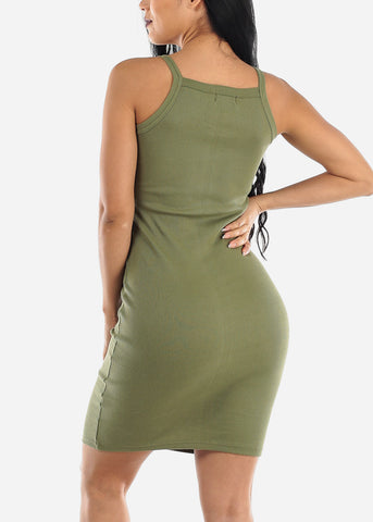 Image of Sleeveless Casual Olive Bodycon Dress