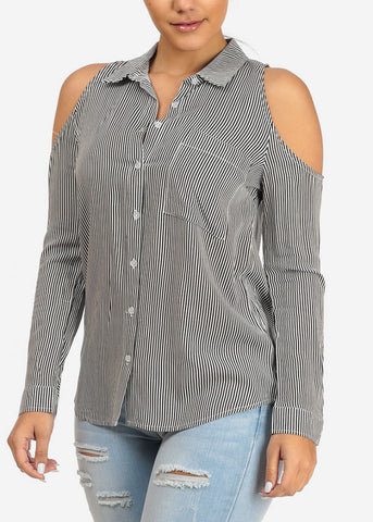 Image of Button Up Black Stripe Top
