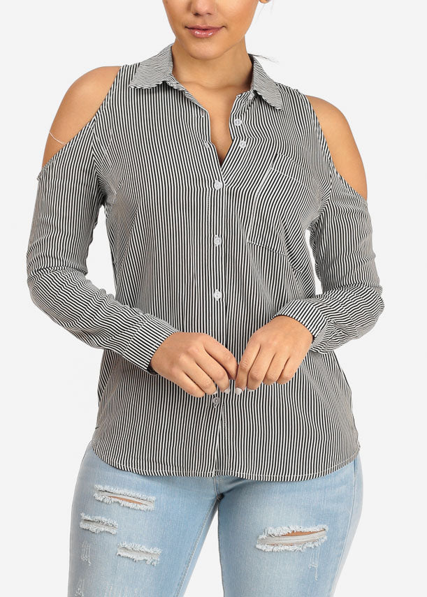 Button Up Black Stripe Top