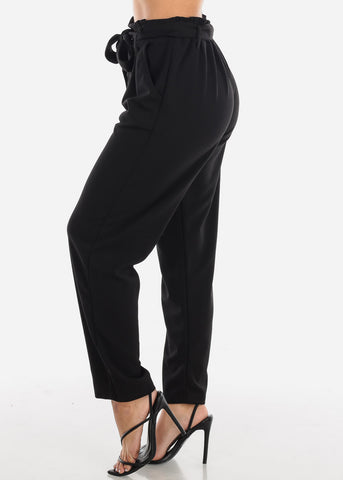 Image of High Rise Black Trousers
