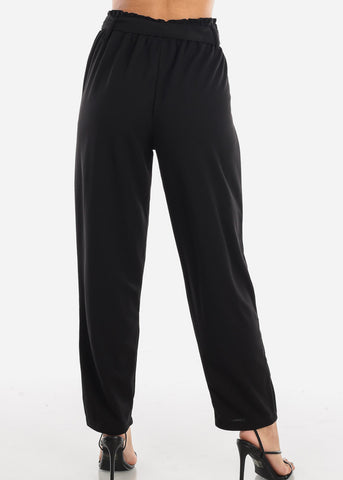 Image of High Waisted Cinched Waist Black Dress Pants with Belt