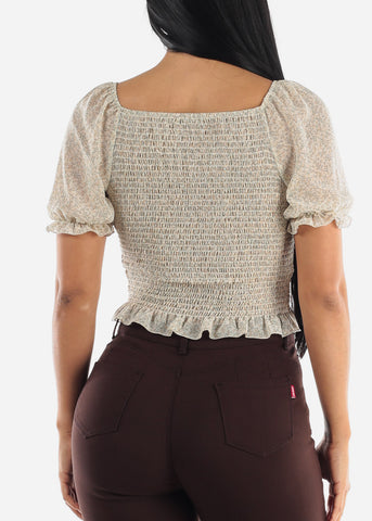 Floral Ruched Details Casual Top