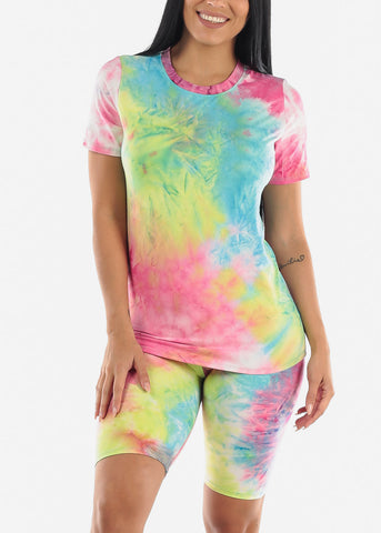 Image of Pink Tie-Dye Biker Short Set