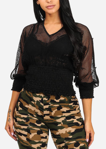 Stylish Open Fishnet Black Top