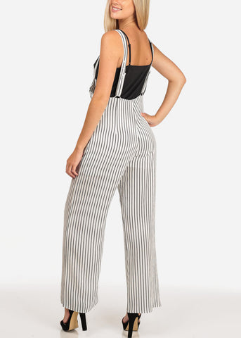 Women's Junior Ladies Going Out Sexy Club Party Wear Sleeveless White Stripe Overall