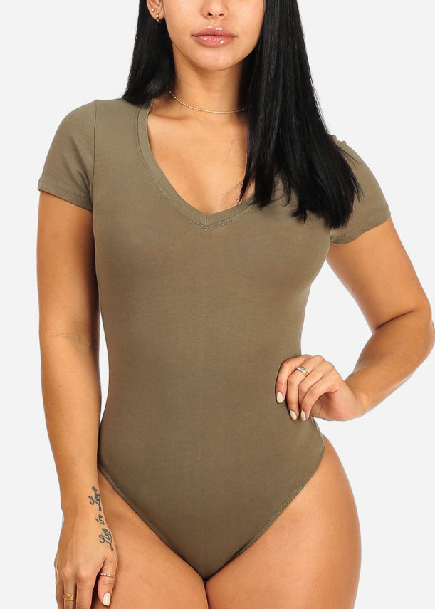 Basic Stretchy Olive Bodysuit