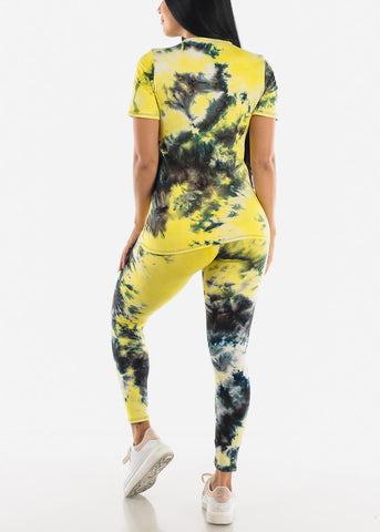 Image of Yellow Tie Dye Shirt & Leggings Set