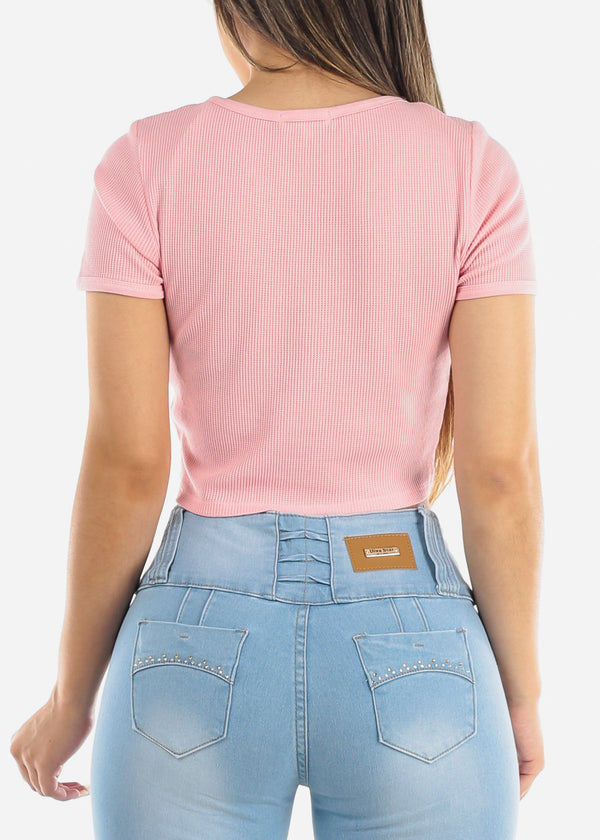 Button Front Pink Crop Top