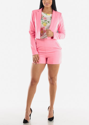 Image of Pink Crop Blazer