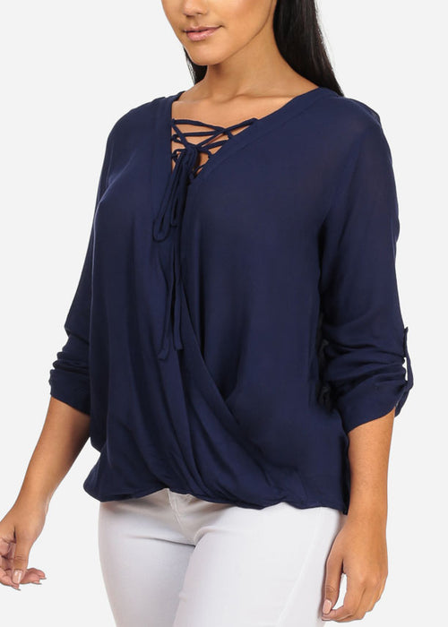 Stylish 3/4 Roll Up Sleeve Wrap Front Lace Up Neckline High Low Navy Top