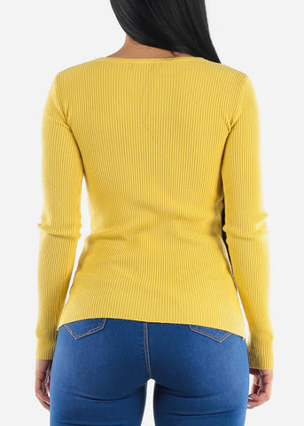 Pretty Mustard Ribbed Sweaters