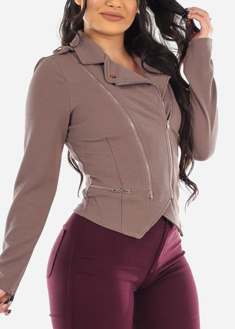 Mocha Zippered Moto Jacket