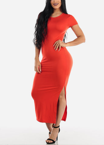 Image of Short Sleeve Red Bodycon Maxi Dress