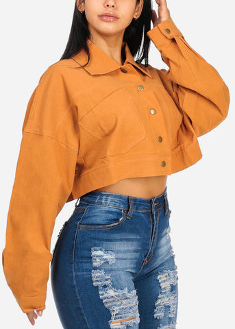 Camel Crop Top W Front Pockets