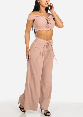 Image of Blush Crop Top W High Rise Pants (2 PCE SET)