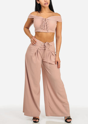 Blush Crop Top W High Rise Pants (2 PCE SET)