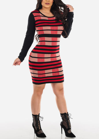 Image of Stripe Red & Black Sweater Dress