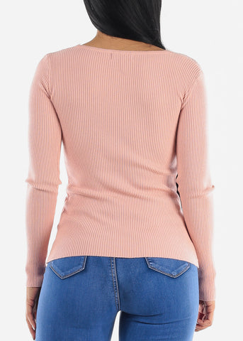 Image of Pretty Pink Ribbed Sweaters