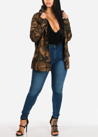 Camouflage Cargo Style Zip Up Jacket