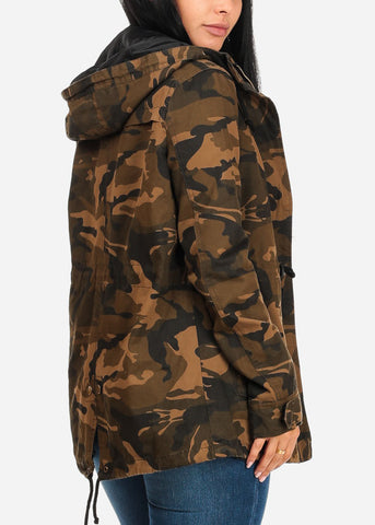 Image of Camouflage Cargo Style Zip Up Jacket