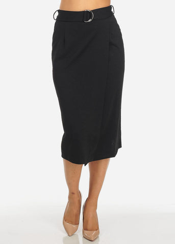 Black High Waisted Wrap Front Midi Skirt