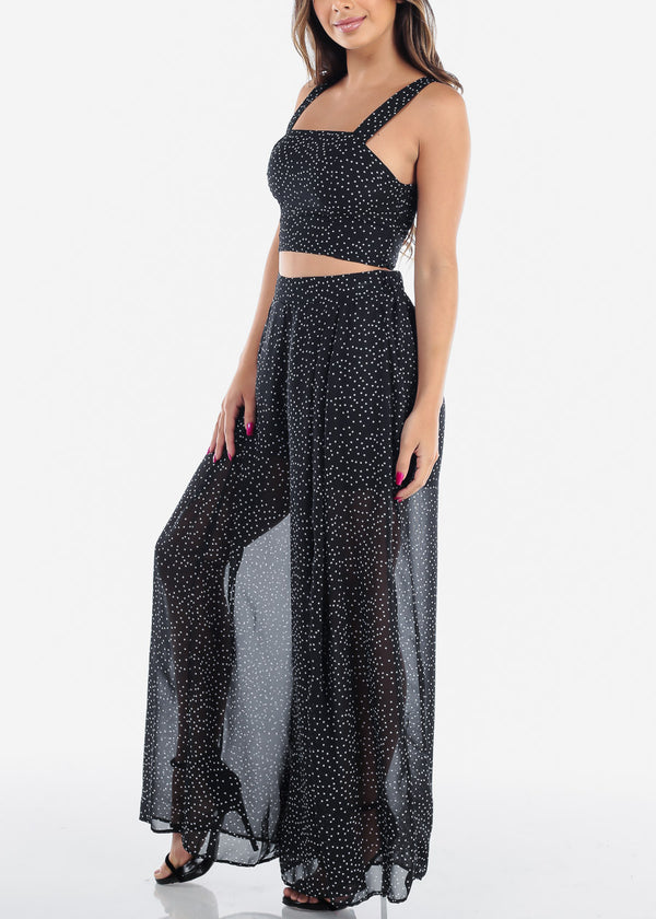 Black Polka Dot Crop Top & Wide Pants (2 PCE SET)
