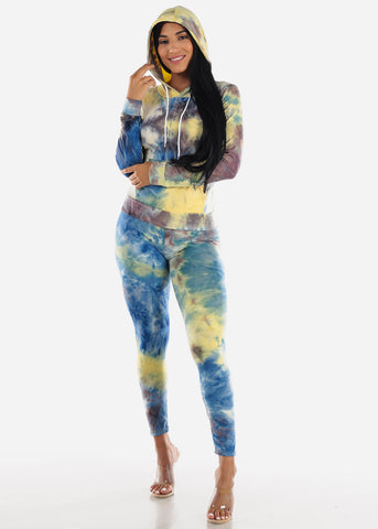 Image of Yellow Tie Dye Hoodie & Pants (2 PCE SET)